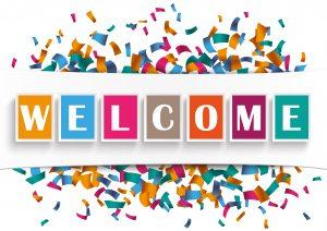 White Paper Banner Welcome Confetti